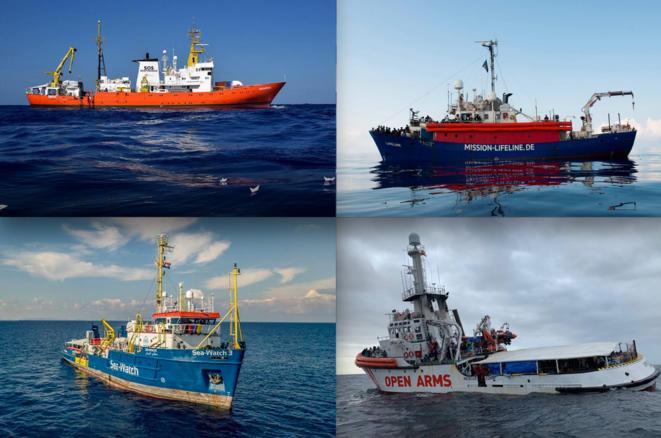 """Estos cuatro barcos de diferentes ONG han sido bloqueados, al menos una vez, en las costas de Malta o Italia con rescatados a bordo: el """"Aquarius"""", el """"Lifeline"""", el """"Sea Watch"""" y el """"Open Arms"""" (de abajo hacia arriba y de izquierda a derecha). © DR"""