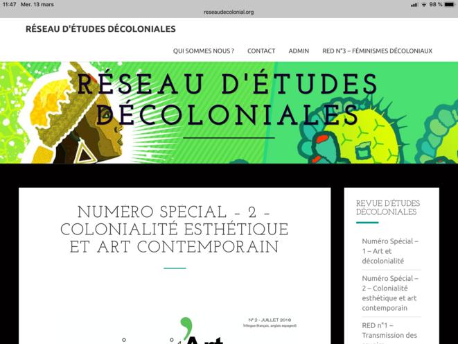 Capture d'ėcran du site de la Revue d'Études Décoloniales (RED)