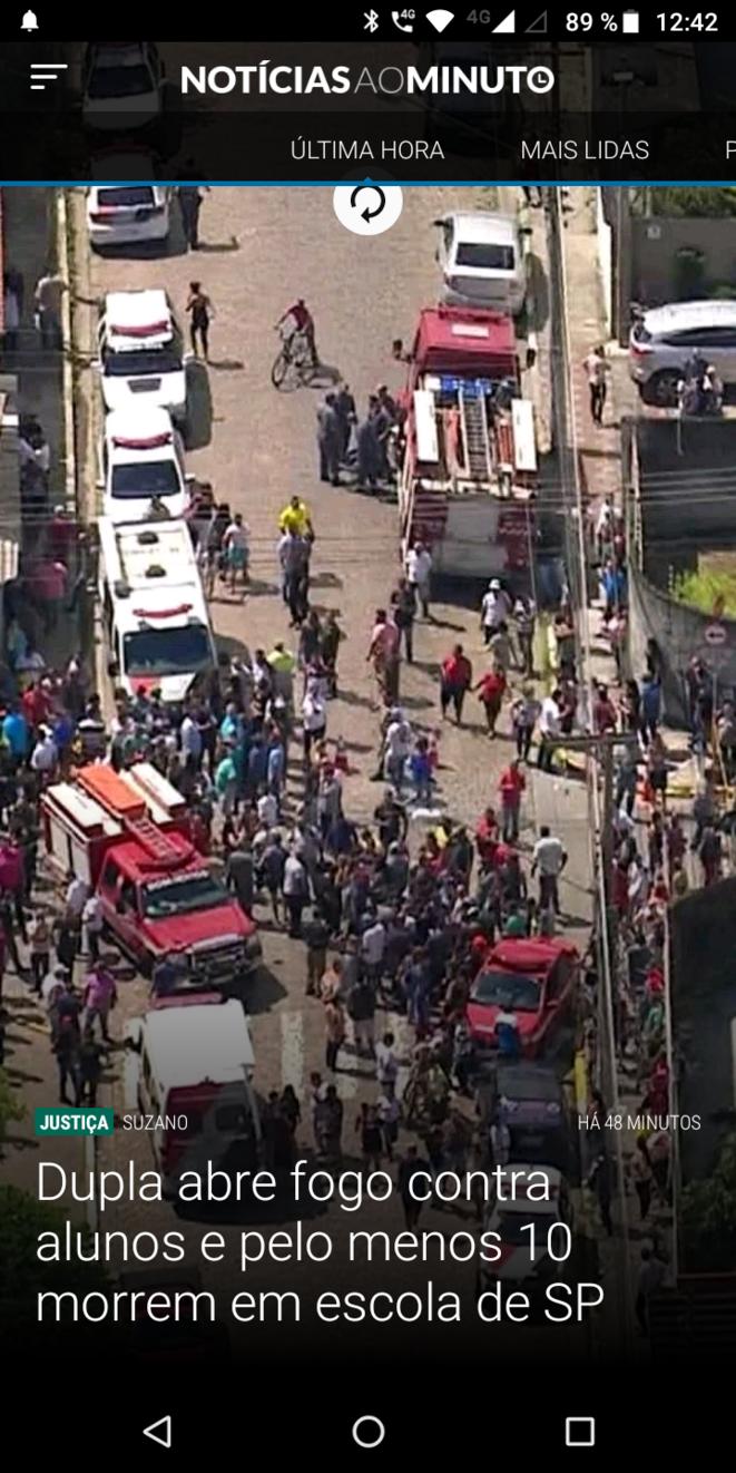 Des tireurs ont tué 8 personnes, parmi elles des enfants, dans une école du Brésil. © noticias ao minuto