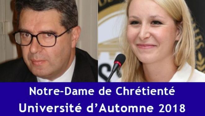 Affiche de l'université d'automne montrant le président d'Ichtus et Marion Maréchal © DR
