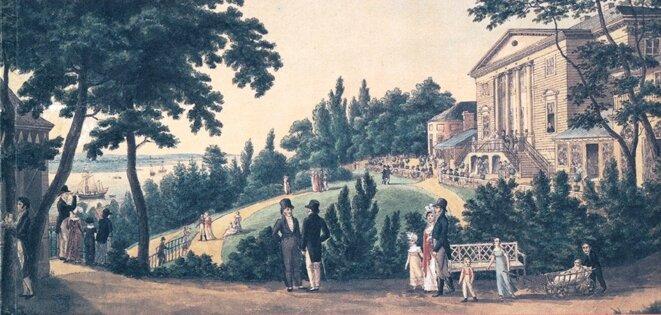 """""""Le jardin de Rainville"""", lieu de rencontre de la communauté française à Hambourg © Wikipedia"""