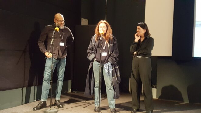 Kevin Jerome Everson, la traductrice et Catherine Bizern, dir. artistique Cinéma du Réel © © Simone A