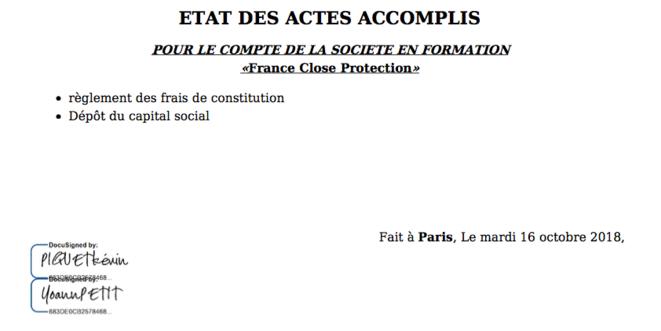 Les signatures des statuts de France Close Protection.