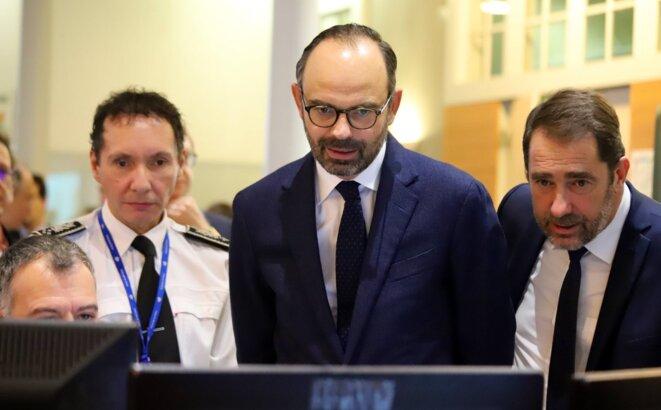 Frédéric Dupuch, le patron des DAR, aux côtés d'Édouard Philippe et de Christophe Castaner. © Services du Premier ministre