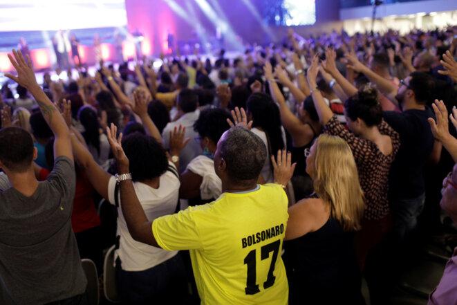 Une messe évangélique le 18 octobre 2018 à Rio de Janeiro © Reuters / Ricardo Moraes.
