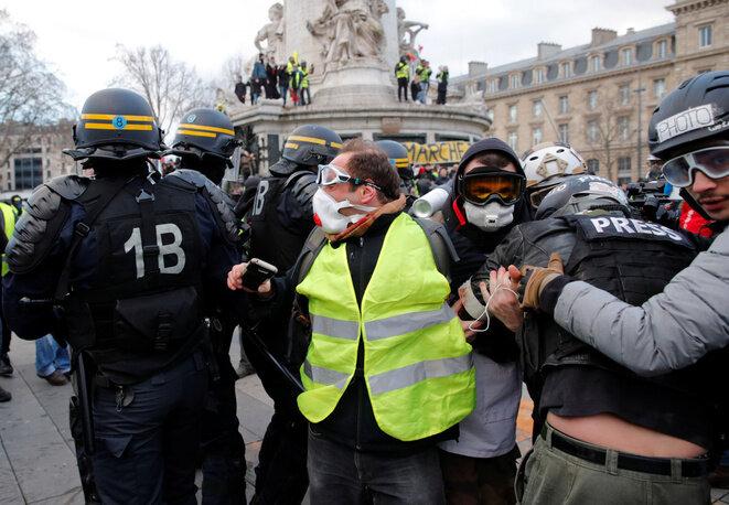 Manifestación de los chalecos amarillos, el 2 de febrero de 2019 en París. © Reuters