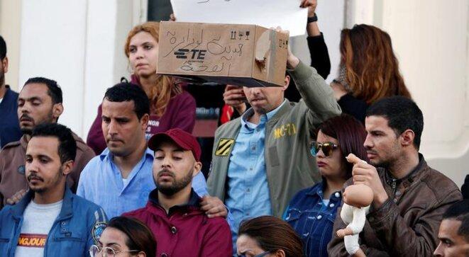 Une manifestation après le décès des nourrissons, à Tunis, le 10 mars 2019. © Reuters