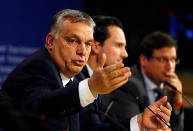 Viktor Orbán pendant sa conférence de presse, le 20 mars 2019 à Bruxelles. © Reuters