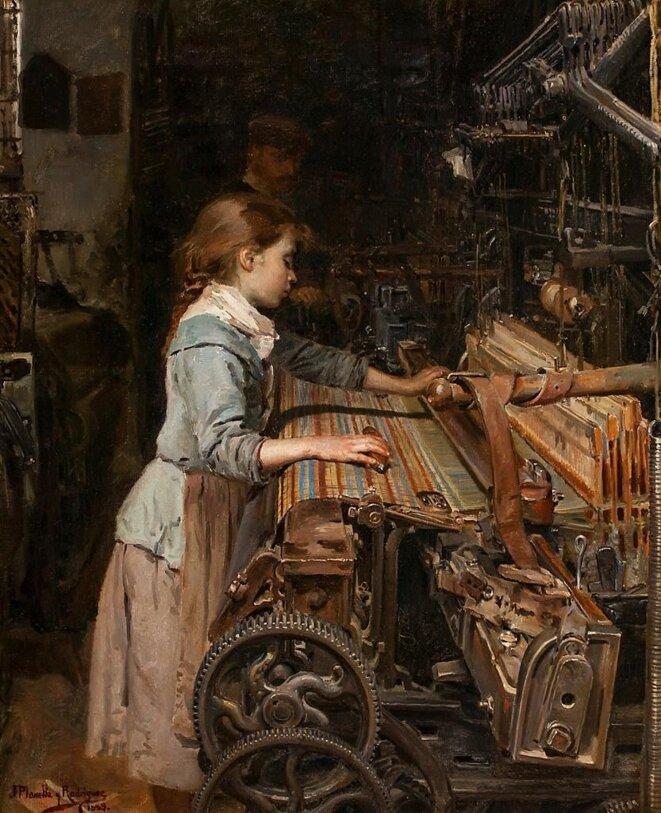 Joan Planella i Rodríguez (1849 – 1910),La niña obrera, 1885, huile sur toile, musée d'Histoire de la Catalogn
