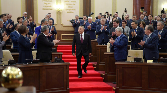 Noursoultan Nazarbaïev pendant la passation de pouvoir à Astana, mercredi 20 mars 2019. © Reuters