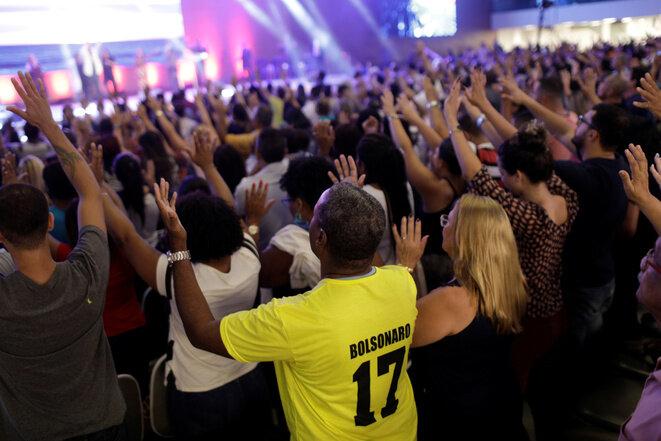 Una misa evangelista, el 18 de octubre de 2018 en Río de Janeiro. © Reuters / Ricardo Moraes