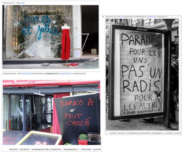 Nos commentateurs ont l'oeil - Slogans laissés par les gilets jaunes parisiens après leur passage