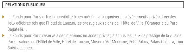 A destination des mécènes, sur le site internet du Fonds pour Paris