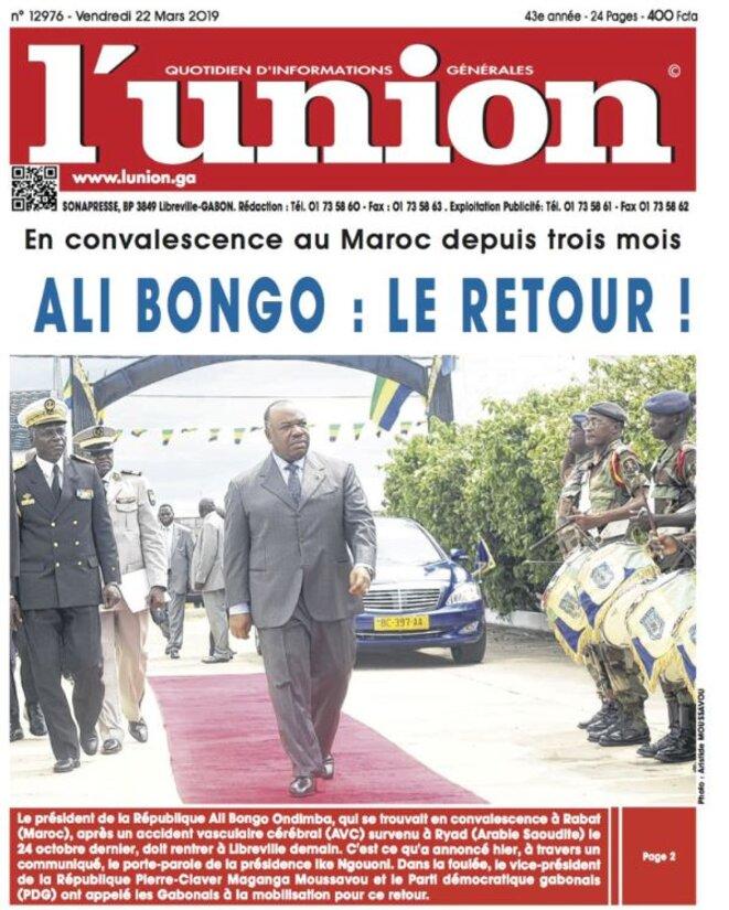 Après accident vasculaire cérébral (AVC) à Riyad, et une convalescence ensuite au Maroc, M. Ali BONGO ONDIMBA rentre définitivement au Gabon