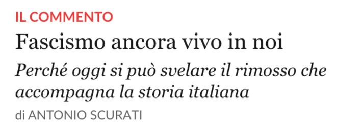 """Capture d'écran du site de """"La Repubblica"""", 23 mars 2019. """"Le fascisme toujours vivant en nous. Pourquoi il est aujourd'hui possible de révéler le refoulé qui accompagne l'histoire italienne."""""""