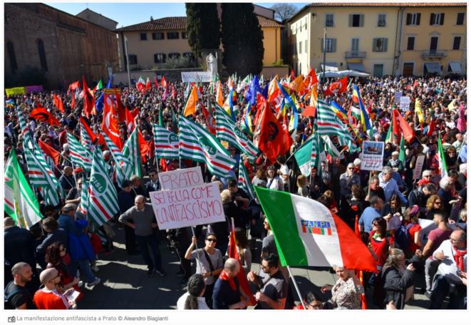 """Contre-manifastation antifasciste, Prato (I), 23 mars 2019. Publié dans """"Il Manifesto"""", 24.3.2019."""