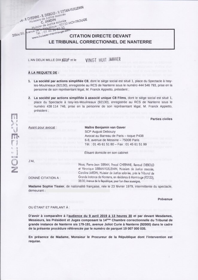 Citation le 9 avril 2019 à 13h30 au tribunal Correctionnel de Nanterre