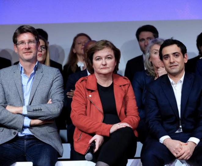 Pascal Canfin, Nathalie Loiseau et Stéphane Séjourné, le 26 mars 2019 à Paris, lors de la présentation de la liste européenne de LREM. © REUTERS/Gonzalo Fuentes
