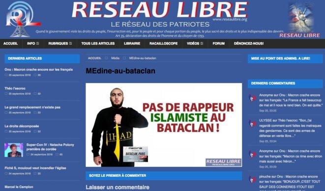 La page d'accueil de Réseau libre au moment de la polémique sur les concerts du rappeur Médine au Bataclan. © DR