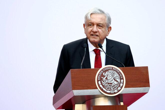 Andrés Manuel López Obrador, lors de la conférence de presse des cent jours, le 11 mars 2019, à Mexico. © Reuters / Edgard Garrido
