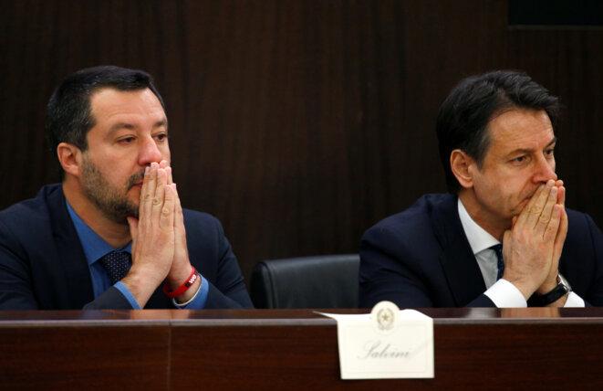 Matteo Salvini (à gauche), de la Ligue, et Giuseppe Conte, président du Conseil (M5S), le 13 mars 2019 à Rome. © Reuters/Yara Nardi
