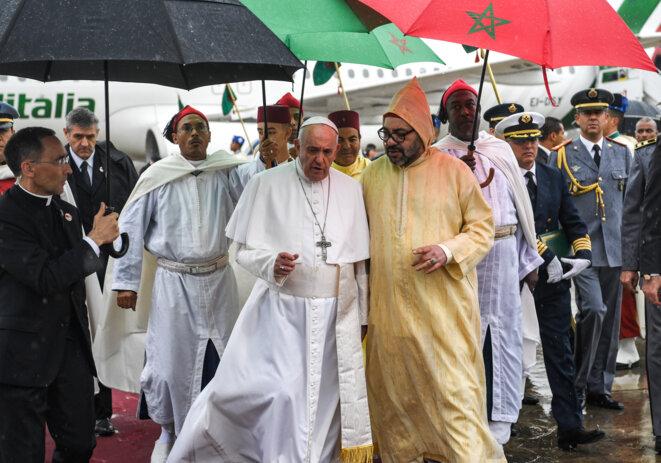 Le Pape François à son arrivée au Maroc