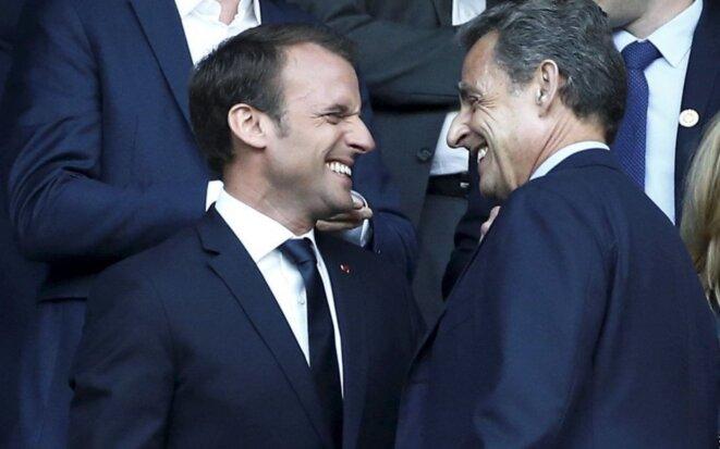 """Emmanuel Macron et Nicolas Sarkozy au Stade de France en 2018. © LP/Olivier Lejeune (publiée sur """"le Parisien"""")"""