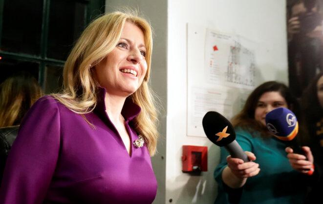 Zuzana Čaputová à l'annonce de sa victoire à l'élection présidentielle. © Reuters
