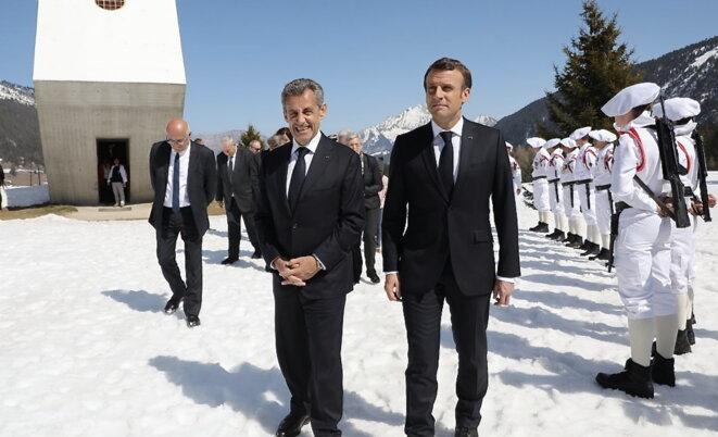 Emmanuel Macron et Nicolas Sarkozy aux Glières le 31 mars 2019 © Ludovic Marin (AFP pour le pool)