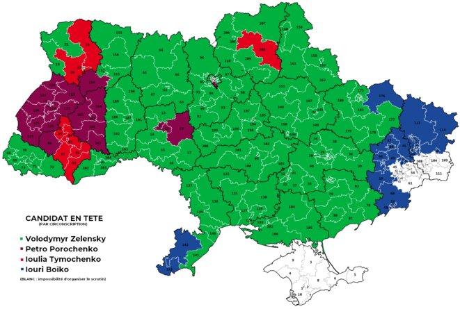 Candidat arrivé en tête du premier tour de l'élection présidentielle ukrainienne de 2019, par circonscription