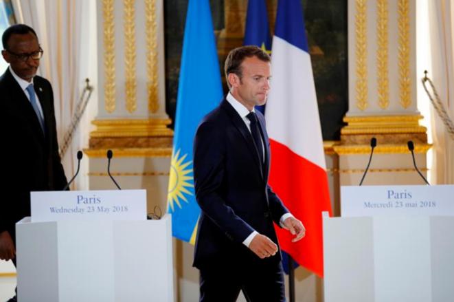 Paul Kagame et Emmanuel Macron à l'Élysée, le 23 mai 2018. © Reuters