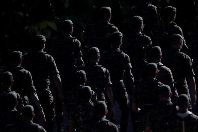 Une parade militaire commémore l'anniversaire du coup d'État de 1964 à Brasilia, le 29 mars. © Reuters