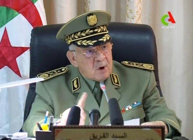 Le général Gaïd Salah s'exprime à la télévision algérienne, le 2 avril. © Canal Algérie