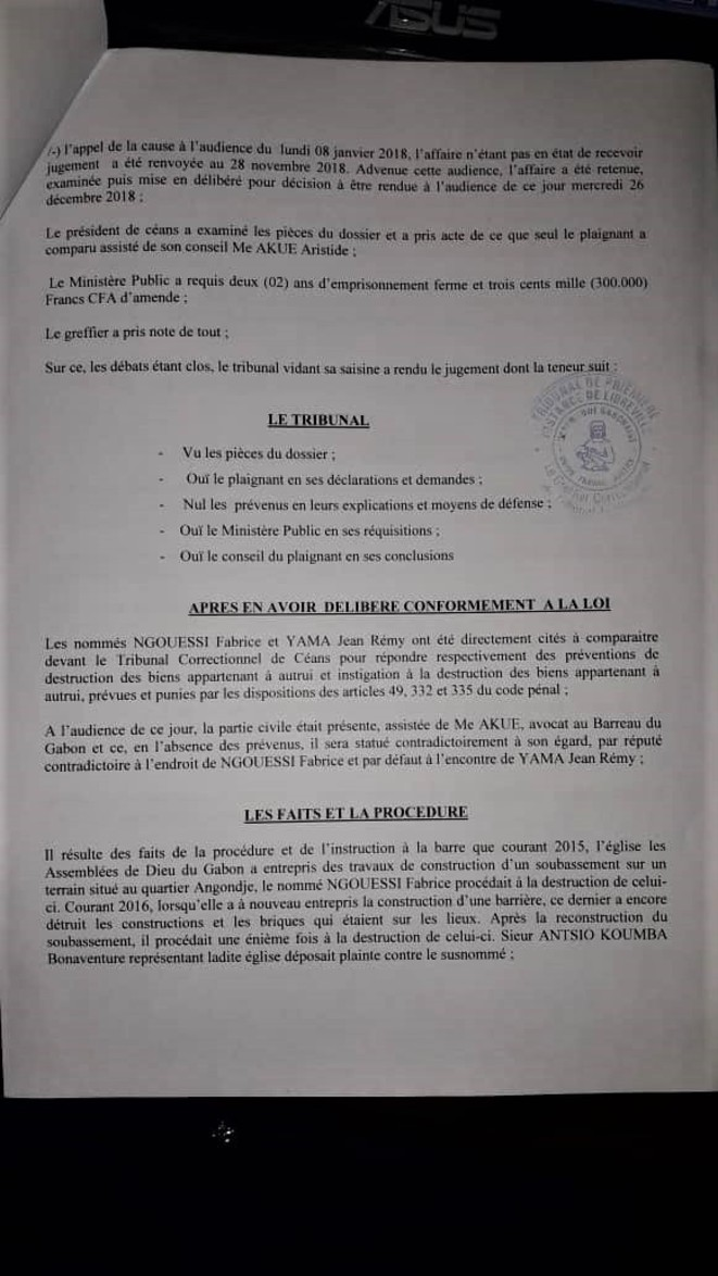 Condamnation passée sous silence par M. Jean Remy YAMA