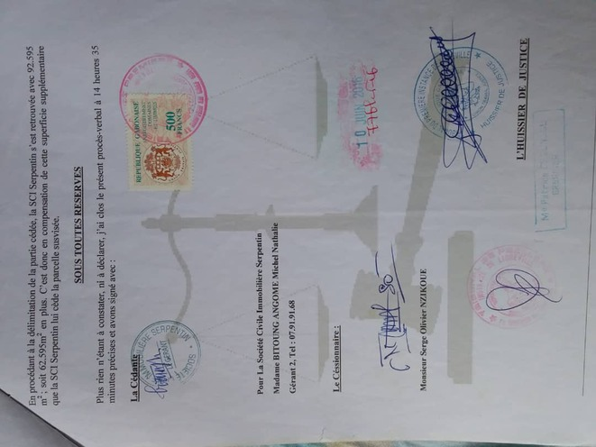 SNEC- SCI SERPENTIN- Jean Remy YAMA-document en faveur de M. NZIKOUE Serge