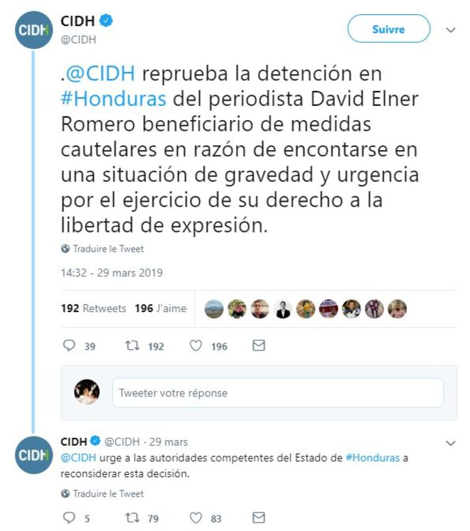 Capture d'écran des deux tweets de la CIDH condamnant l'arrestation de David Romero.