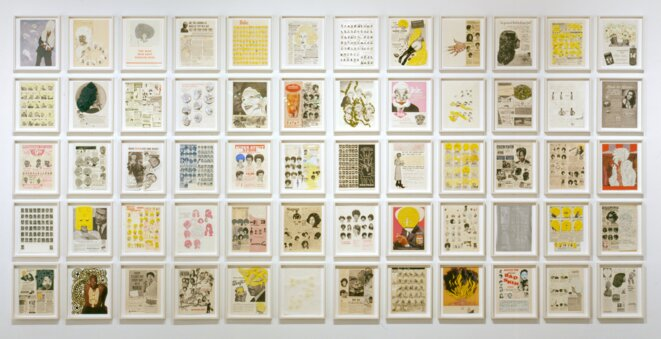 """Ellen Gallagher, """"DeLuxe"""", 2004-05, Portfolio of sixty photogravure, etching, aquatint, and drypoints with lithography, screenprint, embossing, tattoo-machine engraving, laser cutting, and chine collé; some with additions of Plasticine, paper collage, enamel, varnish, gouache, pencil, oil, polymer, watercolor, pomade, velvet, glitter, crystals, foil paper, gold leaf, toy eyeballs, and imitation ice cubes  Each 33 x 26.5 cm / 13 x 10 1/2 inches Overall 215 x 447 cm / 7' x 13' 11"""" © Ellen Gallagher Courtesy the artist and Hauser & Wirth Photo: Alex Delfanne"""