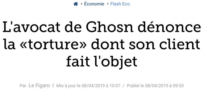 http://www.lefigaro.fr/flash-eco/l-avocat-de-ghosn-denonce-la-torture-dont-son-client-fait-l-objet-20190408