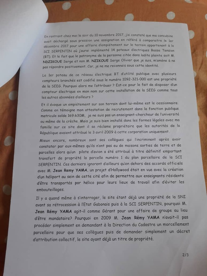 Affaire Serge Olivier NZIKOUE contre Jean Remy YAMA