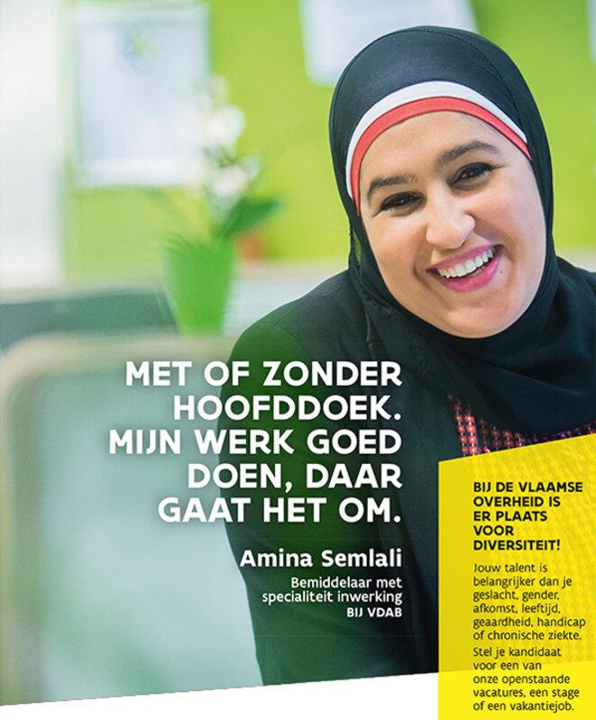 """Campagne du VDAB (le """"pôle emploi"""" flamand) en faveur de l'embauche des musulmanes qui portent le foulard, considérées comme un groupe particulièrement discriminé."""