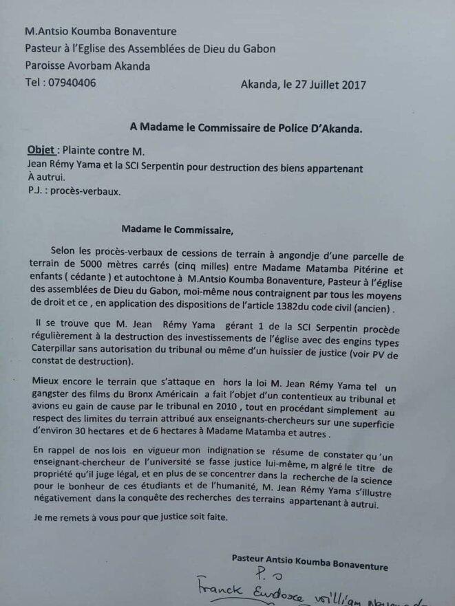 Pasteur ANTSIO KOUMBA Bonaventure, qui avait porté plainte contre  Jean Rémy YAMA le 27 juillet 2017