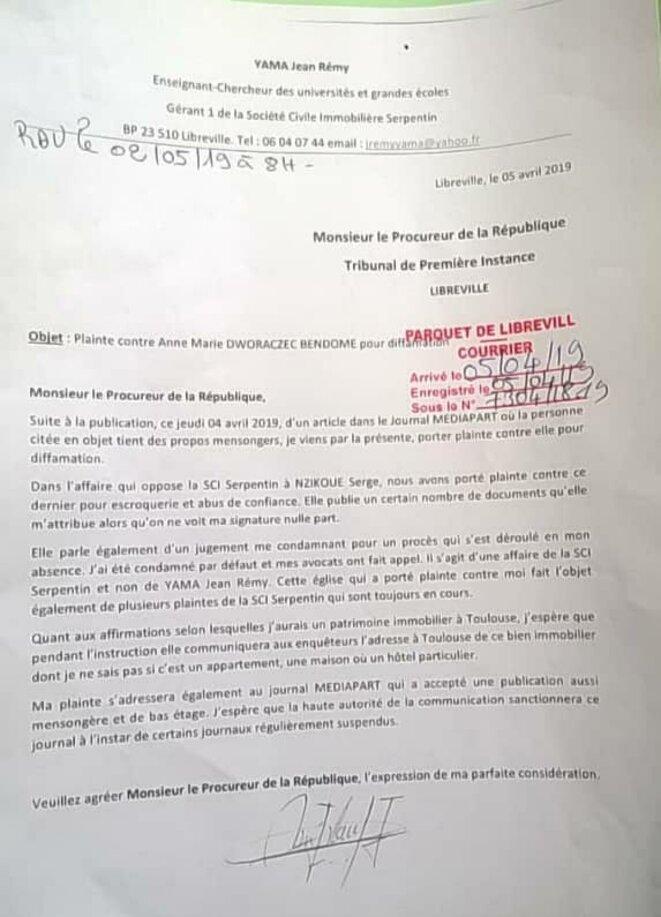 Gabon, 5 avril 2019, dépôt d'une plainte contre Anne Marie DWORACZEK-BENDOME