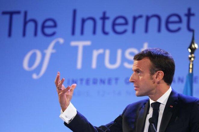 Emmanuel Macron au forum sur la gouvernance de l'Internet, à Paris, le 12 novembre 2018. © Reuters