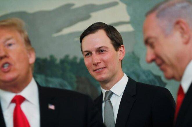 Donald Trump, Jared Kushner et Benjamin Netanyahou à la Maison Blanche, le 25 mars 2019. © Reuters