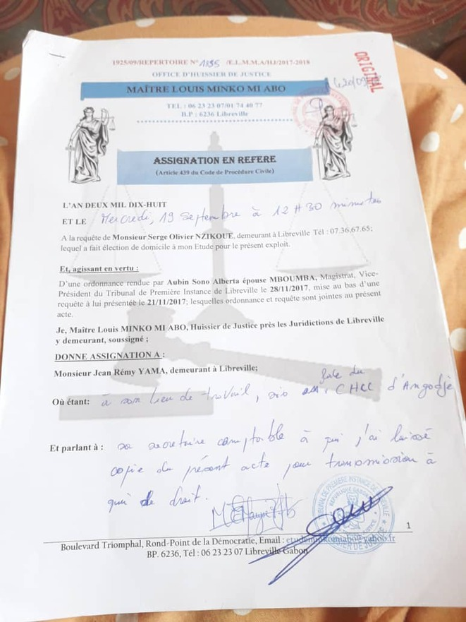 Maitre Serge MINKO-Affaire Serge Olivier NZIKOUE contre Jean Remy YAMA