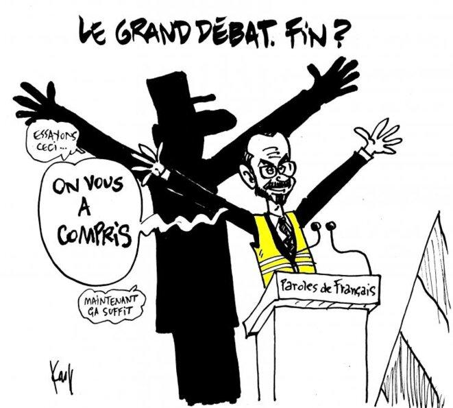 """La restitution du grand débat vue par Kroll, caricaturiste du quotidien bele """"Le Soir""""."""