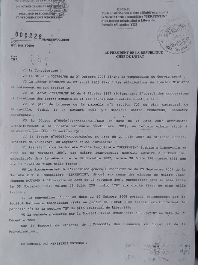 Le don de l'Etat du Gabon au SNEC