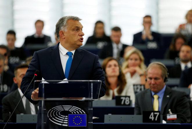 Viktor Orbán lors du débat sur le rapport Sargentini, le 11 septembre 2018 au Parlement européen © Reuters