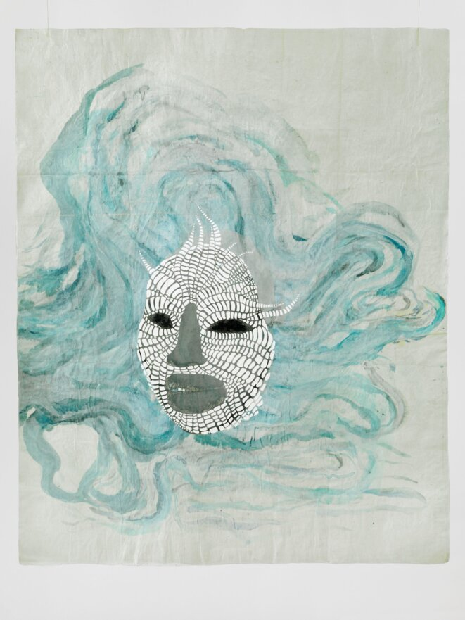 """Ellen Gallagher  """"Morphia"""" (2012) Ink, watercolour, egg tempera, pencil and collage on cut paper Frame structure: steel and glass 79.5 x 65.6 cm / 31 1/4 x 25 7/8 inches Dimensions table: 206.5 x 90 x 50 cm. © Courtesy the artist and Hauser & Wirth"""