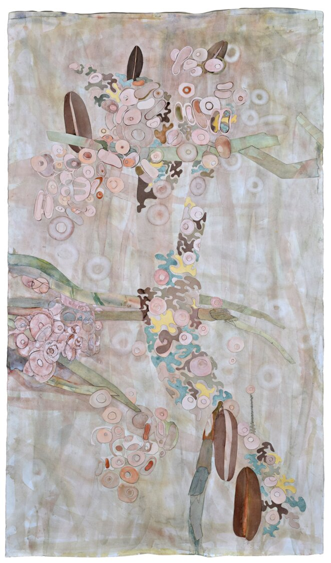"""Ellen Gallagher """"Watery Ecstatic"""" (2005) Watercolour, ink, oil, varnish, collage and cut paper on paper  83 107.6 cm / 32 5/8 x 42 3/8 inches © Ellen Gallagher  Courtesy the artist and Hauser & Wirth  Photo: Mike Bruce"""